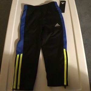 Adidas Boys Black/Royal/Yellow Track Pants 4T.